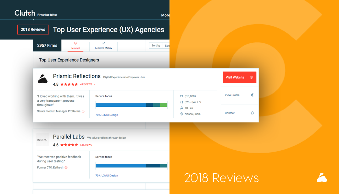 Prismic Reflections Recognized As A Top Ux Ui Agency In India By Clutch Ux Ui Design Thoughts Insights Conversations